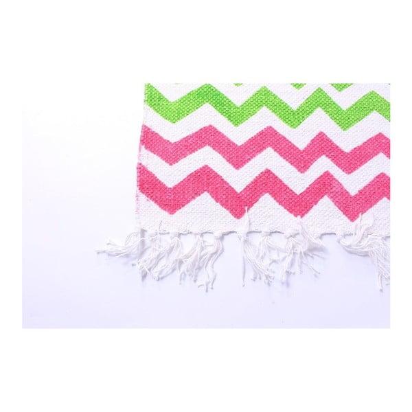 Koberec La Finesse Zig Zag Green/Pink, 70x200 cm