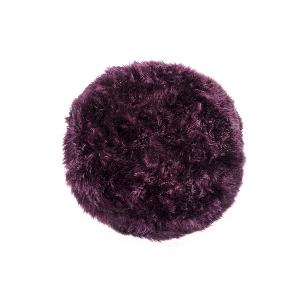 Tmavovínový okrúhly koberec z ovčej vlny Royal Dream Zealand, Ø 70 cm
