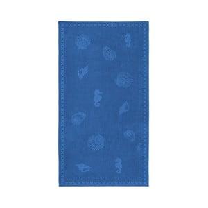 Modrá bavlnená osuška Seahorse Shells, 200×100cm