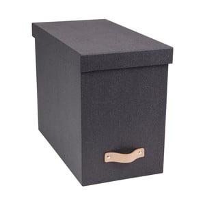 Sivý úložný box na dokumenty s koženým úchytom Bigso