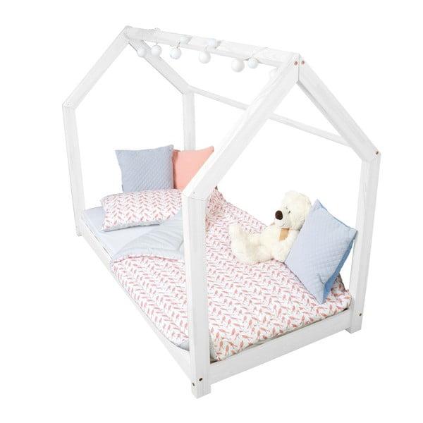 Biela posteľ s vyvýšenými nohami a bočnicami Benlemi Tery, 90x200cm, výška nôh 20cm