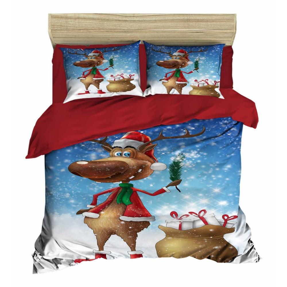 Vianočné obliečky na dvojlôžko s plachtou Alessio, 160×220 cm