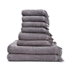 Set 8 sivých bavlnených uterákov a osušiek Casa Di Bassi Bath