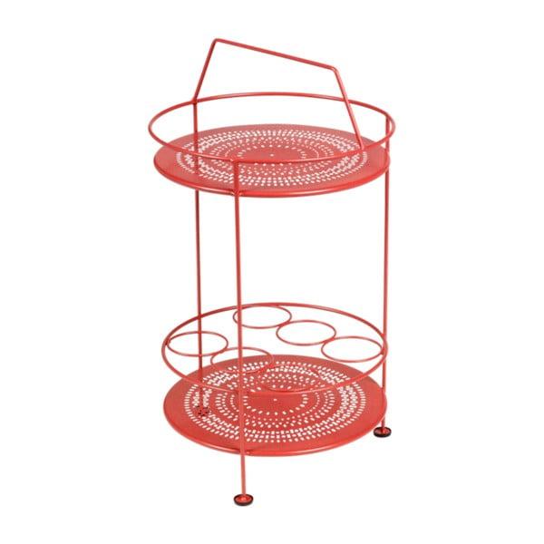 Červený záhradný barový stolík Fermob Montmartre, Ø 40 cm