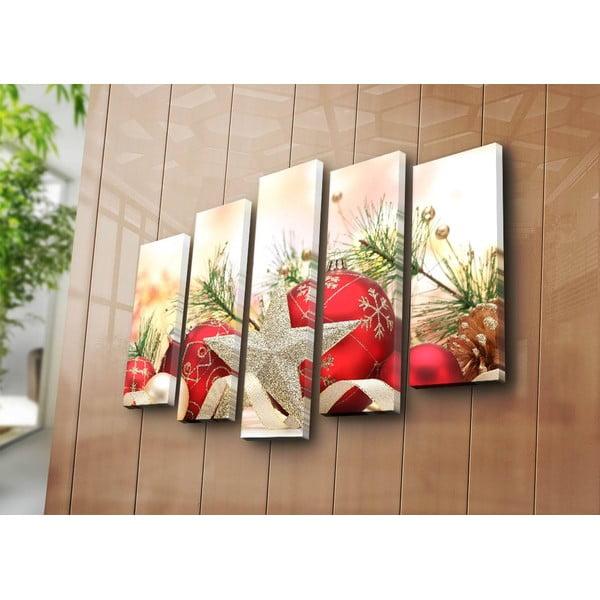 Päťdielny obraz Christmas Ornament, 105x70 cm