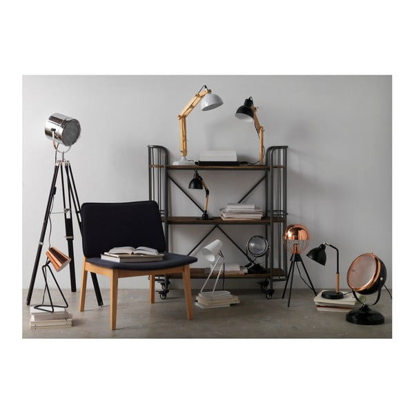 Čierna stolová lampa Geese Wooden