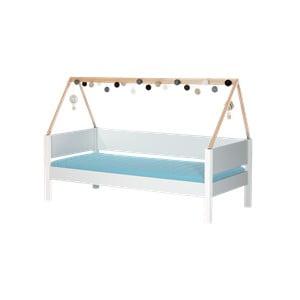 Biela detská posteľ s rámom pre striešku z bukového dreva a bezpečnostnými peľasťami Manis-h Vidar, 90 x 200 cm