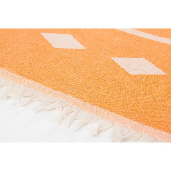 Oranžová obojstranná hammam osuška Begonville Alpha, 100x175cm