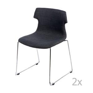 Sada 2 stoličiek D2 Techno, čalúnené, grafitové