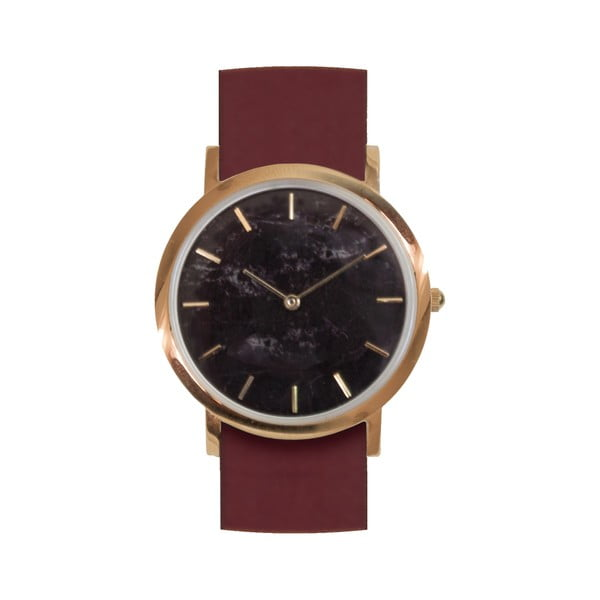 Čierne mramorové hodinky s červeným remienkom Analog Watch Co. Classic