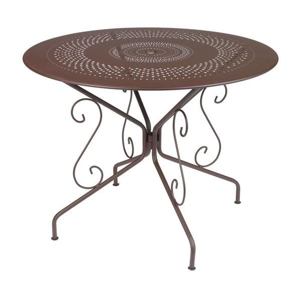 Hnedý kovový stôl Fermob Montmartre, Ø96cm
