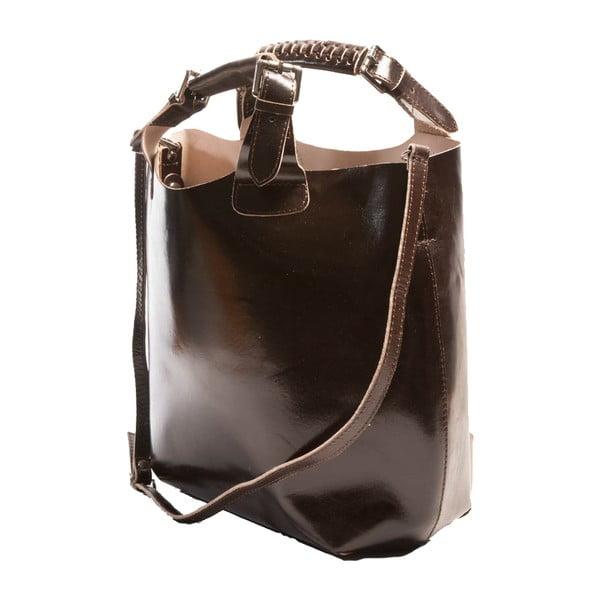 Tmavohnedá kabelka z pravej kože Andrea Cardone Edoardo