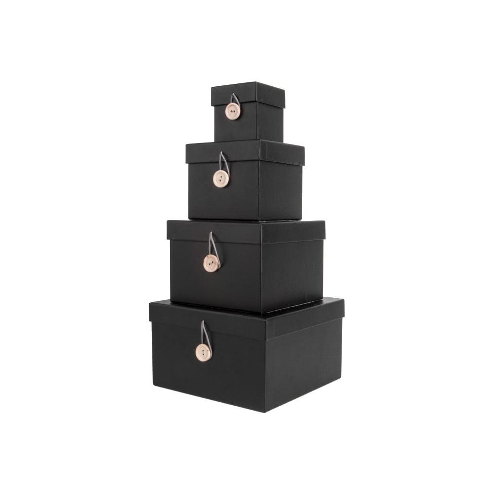 7545b5221 Sada 4 čiernych úložných boxov s vekom PT LIVING Uniform | Bonami