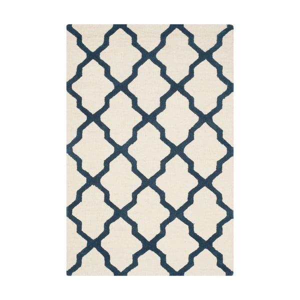 Vlnený koberec Ava White Navy, 91x152 cm