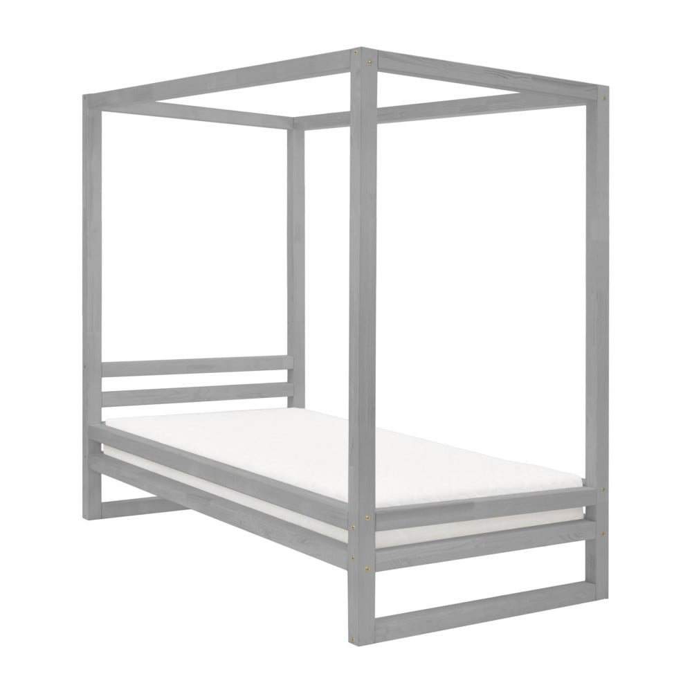 Sivá drevená jednolôžková posteľ Benlemi Baldee, 200 × 90 cm