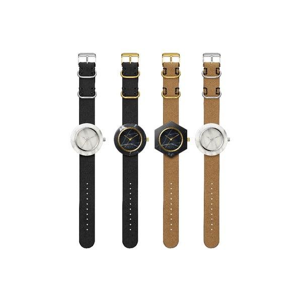 Čierne hranaté mramorové hodinky s hnedým remienkom Analog Watch Co.