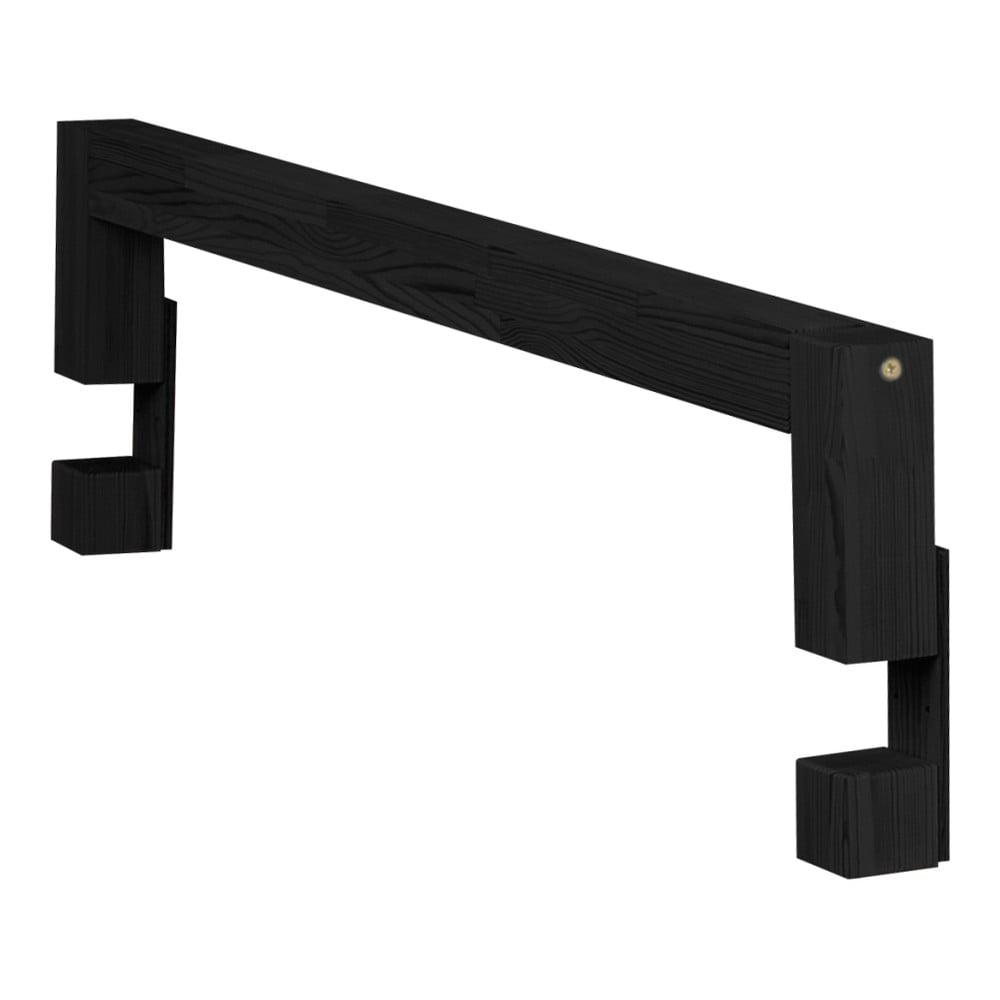 Čierna bočnica z borovicového dreva k posteli Benlemi Safety, dĺžka 90 cm