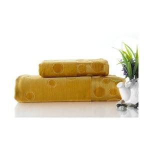 Sada uteráka a osušky Tropical Mustard Color, 70x140 a 50x90 cm