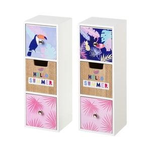Sada 2 úložných škatuliek s 3 zásuvkami Unimasa Tropical, výška 32 cm