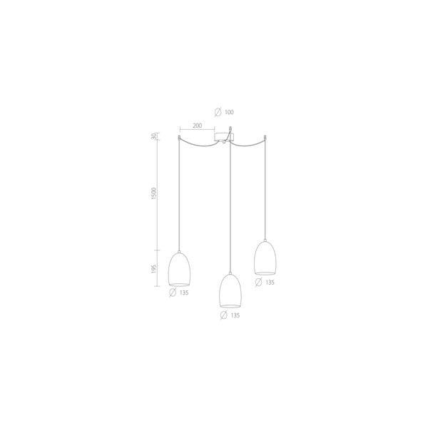 Trojité svetlo UME Elementary, ecru matte/white/white