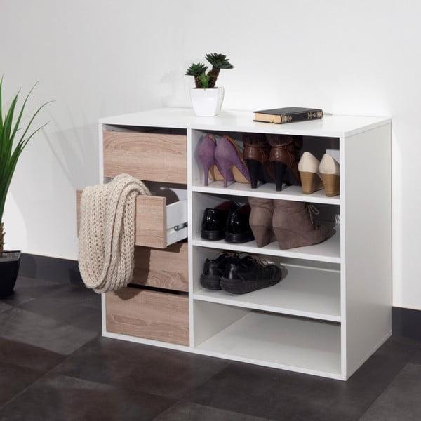 Biely úložný regál so 4 zásuvkami v dekore dubového dreva 13Casa Charlotte