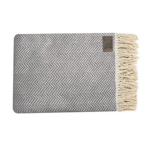 Sivo-hnedý bavlnený pléd Zig, 130x170cm
