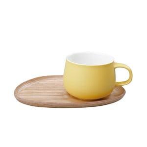 Žltý hrnček s dreveným tanierikom  Kinto Fika