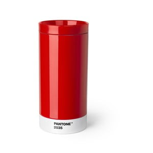 Červený cestovný hrnček z antikoro ocele Pantone, 430 ml