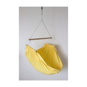 Žltá hojdačka z bavlny so zavesením do stropu Hojdavak Junior (2 až 10 rokov)