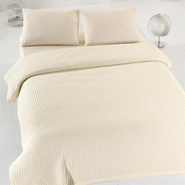 Krémový ľahký bavlnený pléd cez posteľ Caleidoscope, 200 x 240 cm