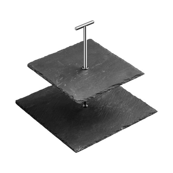 Dvojposchodový bridlicový hranatý stojan na torty Premier Housewares Slate