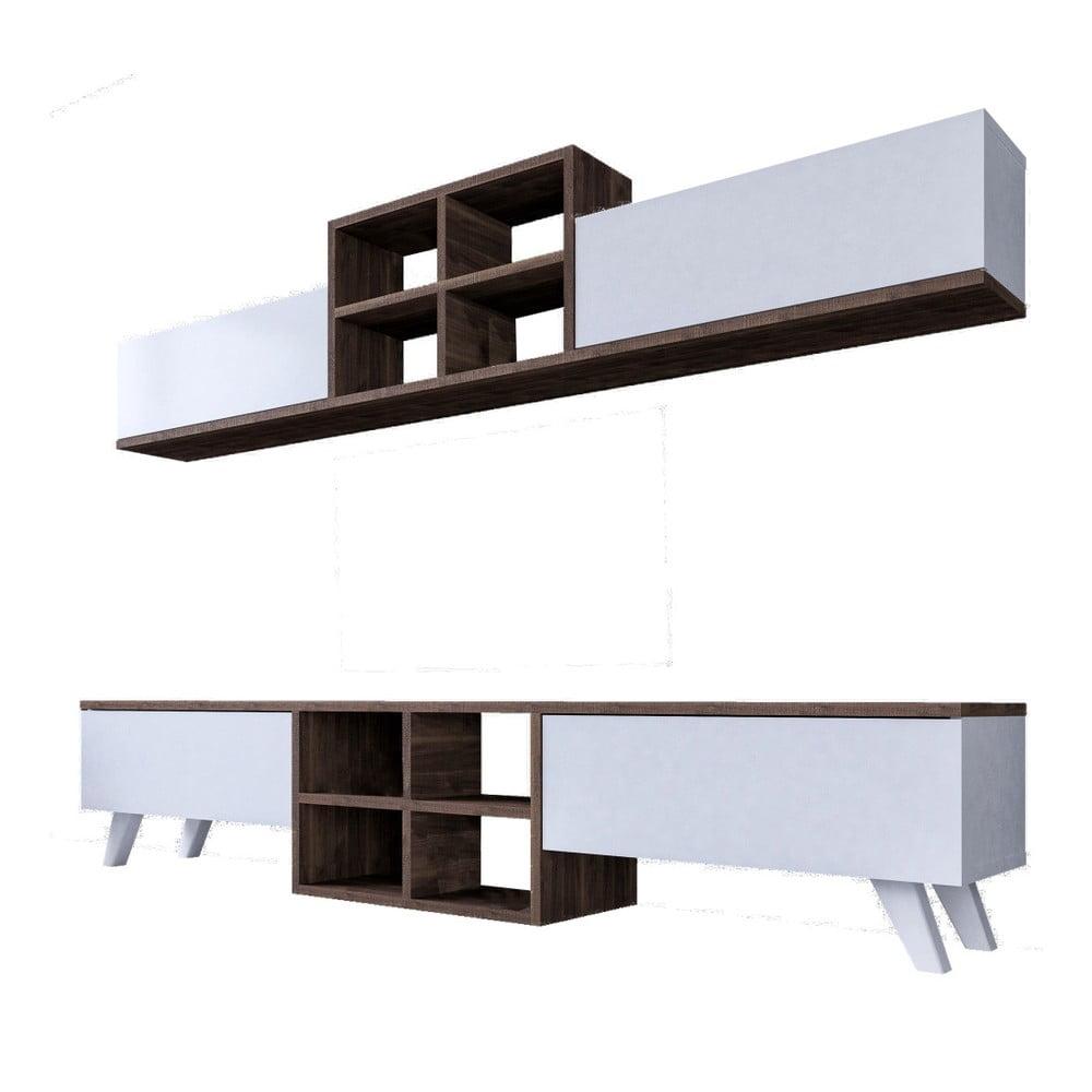 Set bielej TV komody a nástennej police v dekore orechového dreva Saturn
