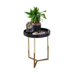 Čierny príručný stolík s nohami v zlatej farbe Skyport Wohnling Eva, ⌀ 40 cm