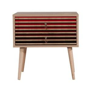 Nočný stolík s 2 zásuvkami Two Red Stripes, 40×60 cm