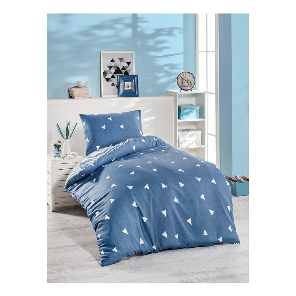 Modré bavlnené obliečky na jednolôžko Jussno Mento, 140 × 220 cm