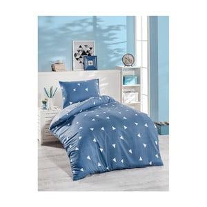 Modré bavlnené obliečky na jednolôžko Jussno Mento, 140×220 cm