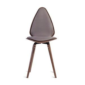 Sivá jedálenská stolička z masívneho jaseňového dreva Charlie Pommier Egg
