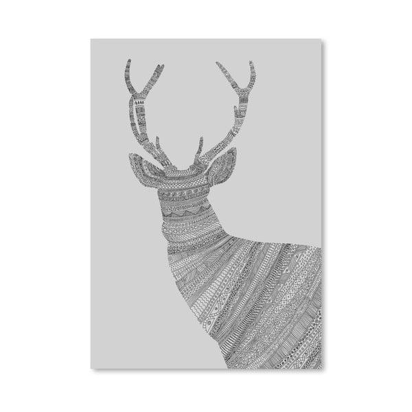 Plagát Stag Grey od Florenta Bodart, 30x42 cm