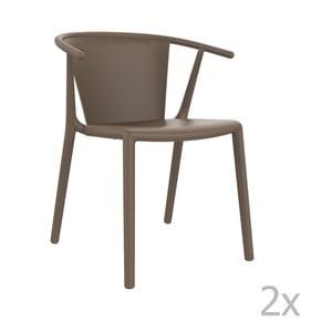 Sada 2 hnedých záhradných stoličiek Resol Steely