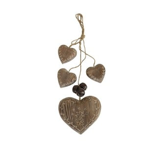 Závesná dekorácia Wood Garland Hearts
