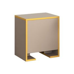Hnedý nočný stolík s horčicovožltými detailmi Homitis Payti
