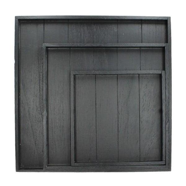 Set 3 tácov Wooden Black