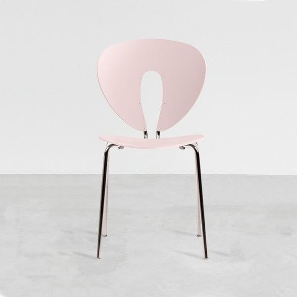 Ružová stolička s lesklými chrómovanými nohami Stua Globus