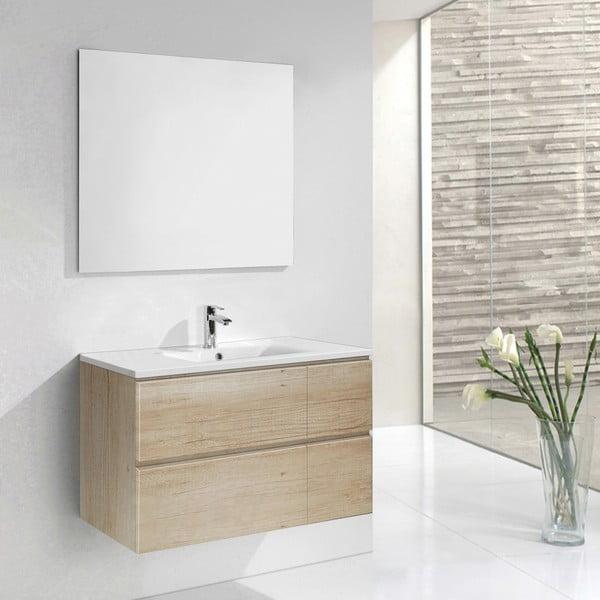 Kúpeľňová skrinka s umývadlom a zrkadlom Monza, dekor dreva, 120 cm