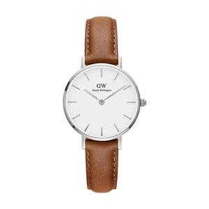 Dámske hodinky s koženým remienkom a bielym ciferníkom s detailmi striebornej farby Daniel Wellington Petite Durham, ⌀ 28 mm