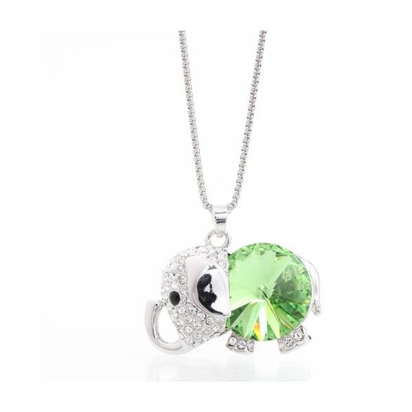 Náhrdelník so Swarovski Elements, zelené sloníča