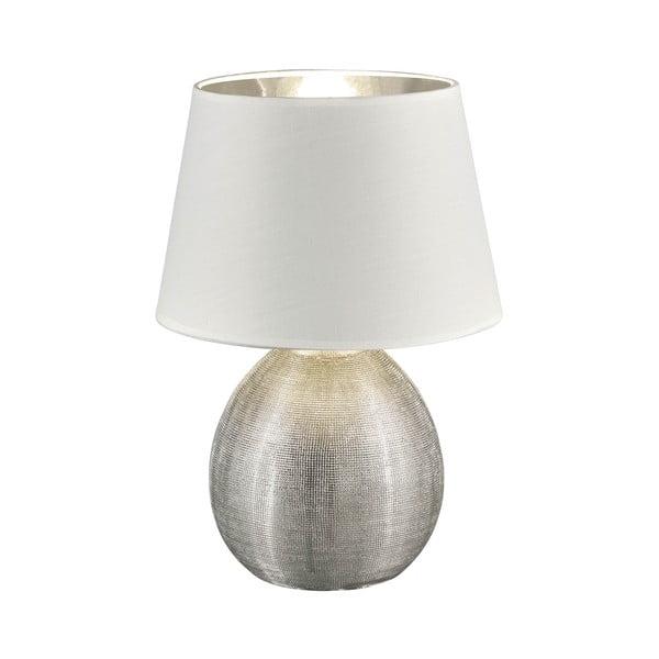 Biela stolová lampa z keramiky a tkaniny Trio Luxor, výška 35 cm