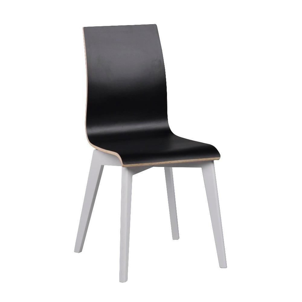 Čierna jedálenská stolička s bielymi nohami Folke Grace