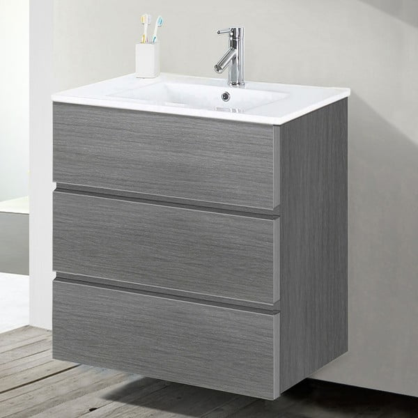 Kúpeľňová skrinka s umývadlom a zrkadlom Nayade, odtieň sivej, 60 cm