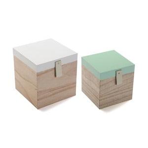 Sada 2 drevených úložných bo×ov Versa Secret
